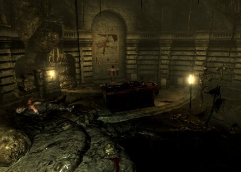 The shrine where you find the super evil bible thingy.