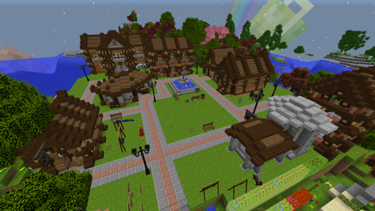 From left to right, the carpenter, mining supply, general store, ranch, chicken store, cafe, and blacksmith