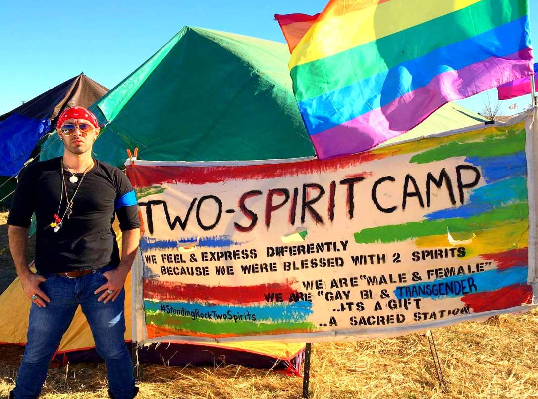 Tony-Enos-at-Oceti-Sakowin-in-front-of-the-Two-Spirit-Nation-camp.-Photo-courtesy-of-Tony-Enos